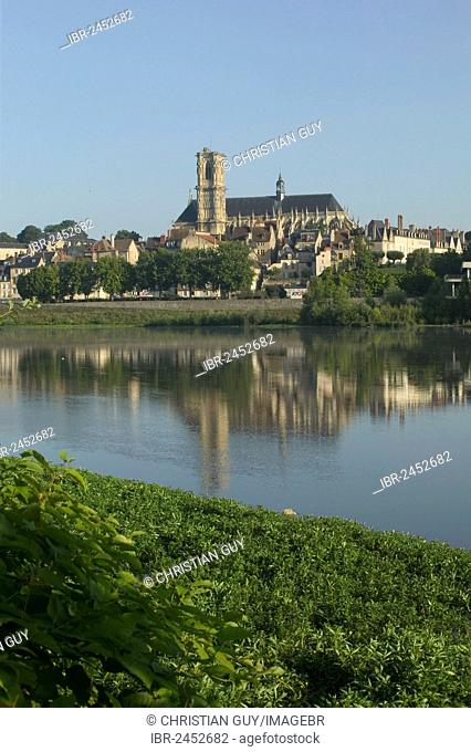 Saint-Cyr-et-Sainte-Juliette cathedral across River Loire, Nevers, Loire valley, Nievre, Centre, France, Europe