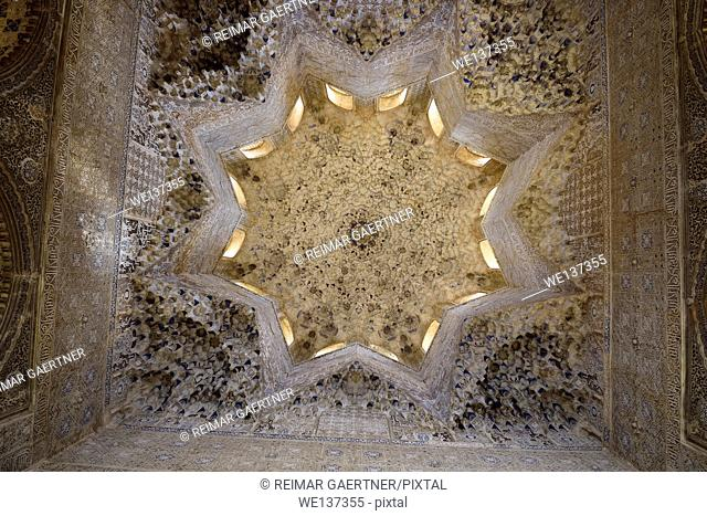 Ceiling of the Hall of the Abencerrages in the Nasrid Palaces of Alhambra Granada Spain