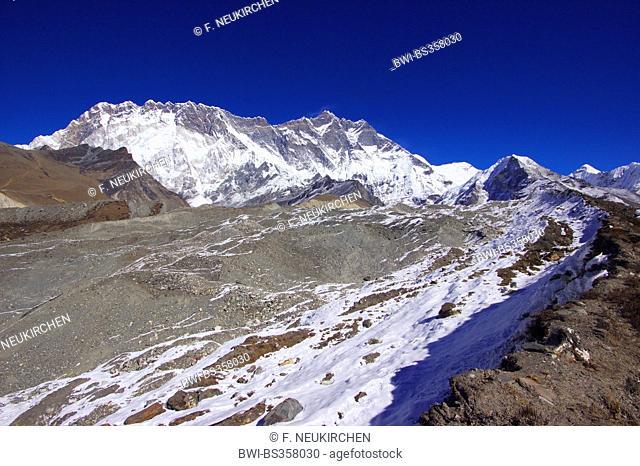 glacier near Chhukhung, Nuptse and Lhotse in background, Nepal, Himalaya, Khumbu Himal