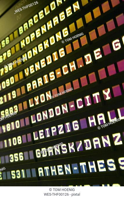 Arrival-Departure board at Frankfurt/M Airport,Germany, close-up, low angle view