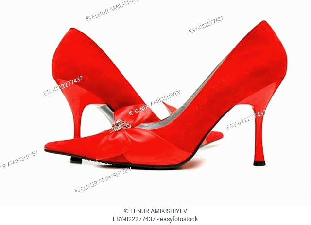 Red woman shoes isolated on the white
