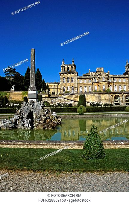 Blenheim Palace, Woodstock, near Oxford, Oxfordshire, England. View from lower water terrace