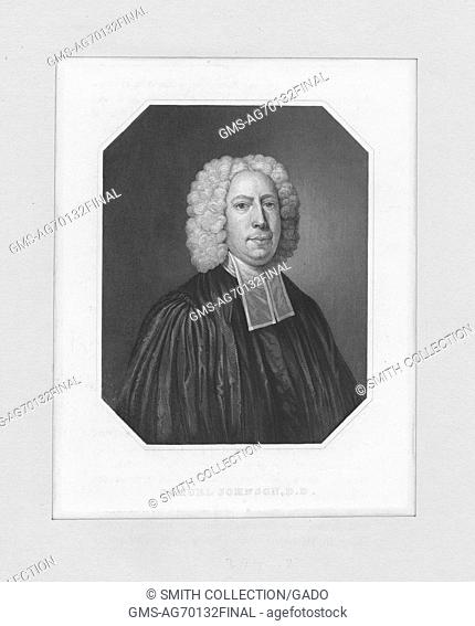 An etching from a portrait of Samuel Johnson, an English writer, editor, and lexicographer, who published A Dictionary of the English Language in 1755 which had...