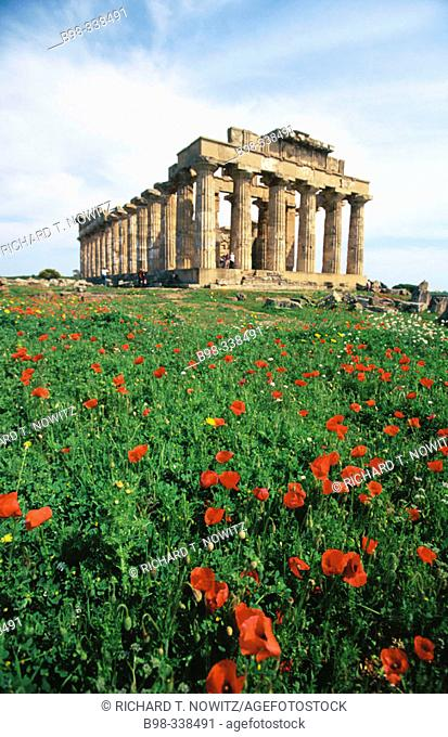 Italy. Sicily. Selinunte. Ruins of Greek temple from seventh century BC. Province of Trapani