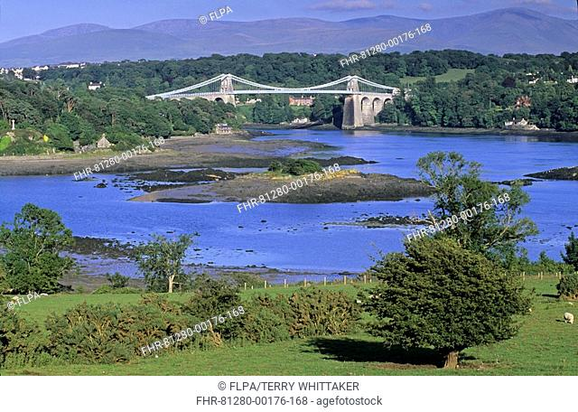 Wales - Menai suspension bridge from Anglesey