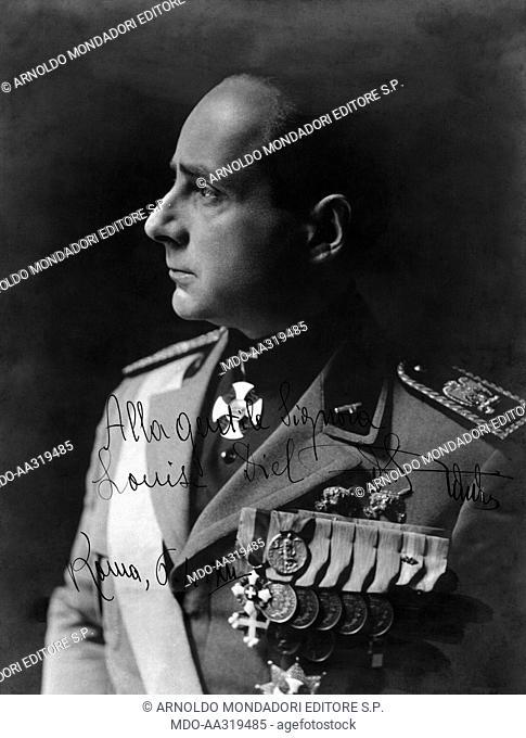 Autographed photo of Achille Starace. Portrait of Achille Starace in uniform with a dedication to Mrs. Louise Diel. Rome, 6th April 1934