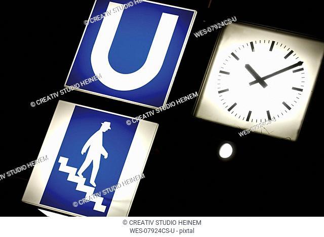 Information icon, subway sign