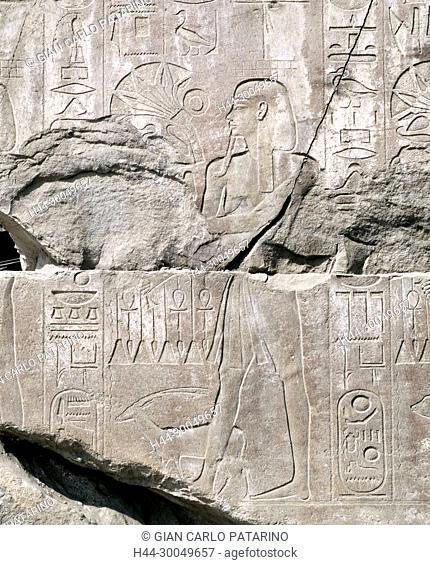 Karnak, Luxor, Egypt. Temple of Karnak sacred to god Amon: the king Horemheb (X° pylon)