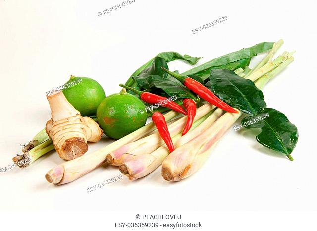 Ingredients for hot and sour Thai soup, Tom Yum Koong
