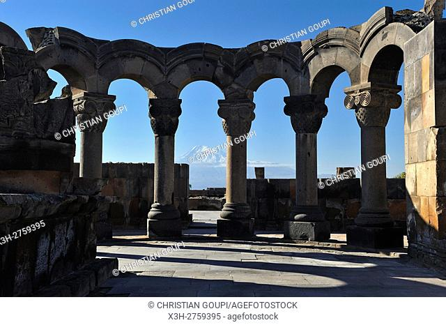 rebuilt sections of the ruins of Zvarnots Cathedral, located near the city of Vagharshapat (commonly known as Ejmiatsin), UNESCO World Heritage Site
