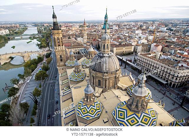 Aerial view of Zaragoza from El Pilar, the Basilica-Cathedral of Our Lady of the Pillar. Zaragoza, Aragon, Spain