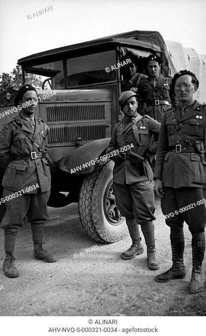 Spanish Civil War 1936-1939: Italian fascist soldiers pass through Jerez de la Frontera, Guadalajara, Almadrones, Navalpotro
