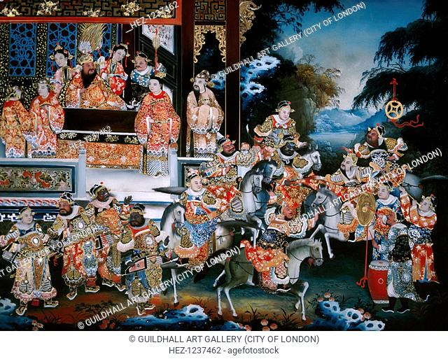 Unidentified Marital Scene, c1800-c1850. One of eight mirror paintings depicting marital scenes. The scene may illustrate the San Guo Zhi 'Romance of the Three...