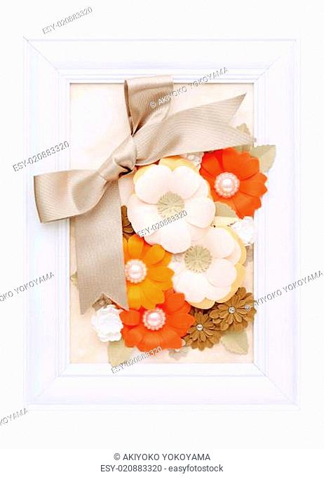 photo frame with handmade paper flower
