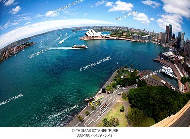 Aerial view of a harbor, Sydney Harbor, Sydney opera house, Sydney, New South Wales, Australia
