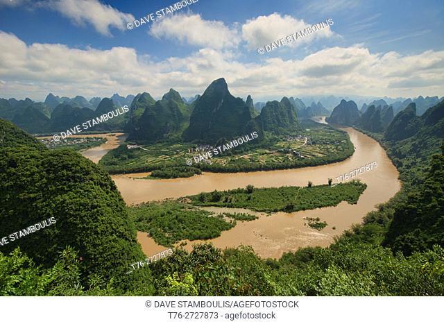 Birdseye view of the Li River from Xianggong Mountain, Xingping, Guangxi Autonomous Region, China