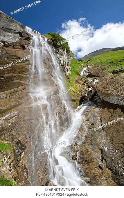 Fensterbach waterfall in summer, Hohe Tauern National Park, Carinthia / Kärnten, Austria