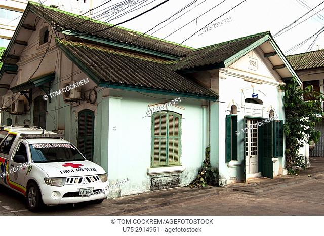 Old French colonial house now housing the Red Cross Headquarters, Vientiane, Laos