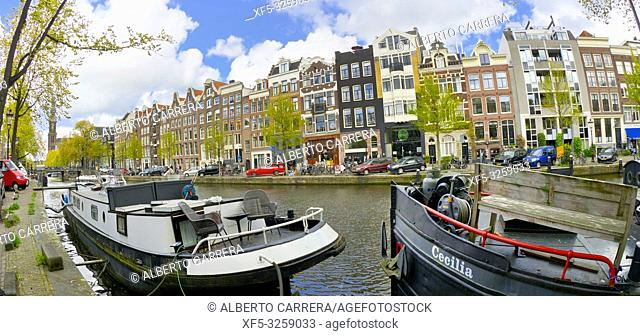 Urban Canal, Street Scene, Amsterdam, Holland, Netherlands, Europe