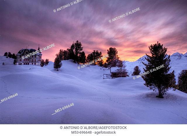 Winter view of Villa Cassel at sunset. Riederalp municipality, Raron district, Valais, Switzerland