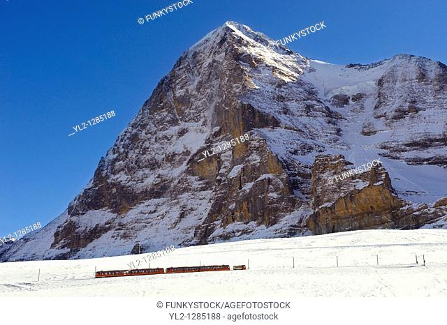 Jungfraujoch train at in front of The Eiger Mountains  Swiss Alps Switzerland