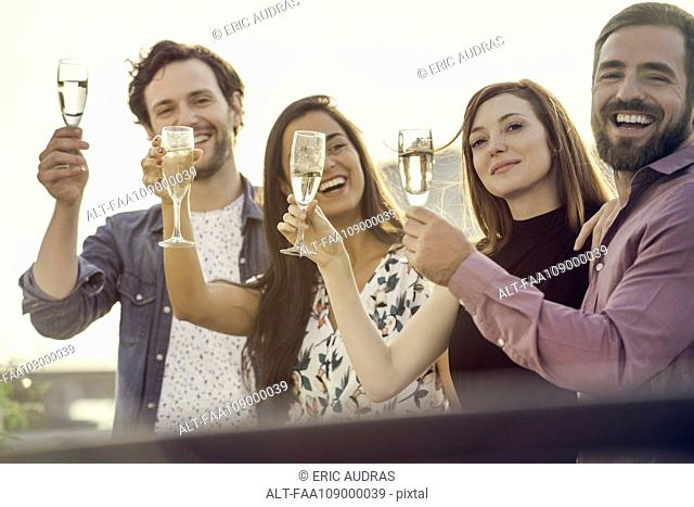 Friends drinking champagne together outdoors