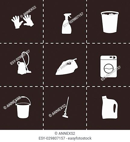 Vector black cleaning icons set on black background