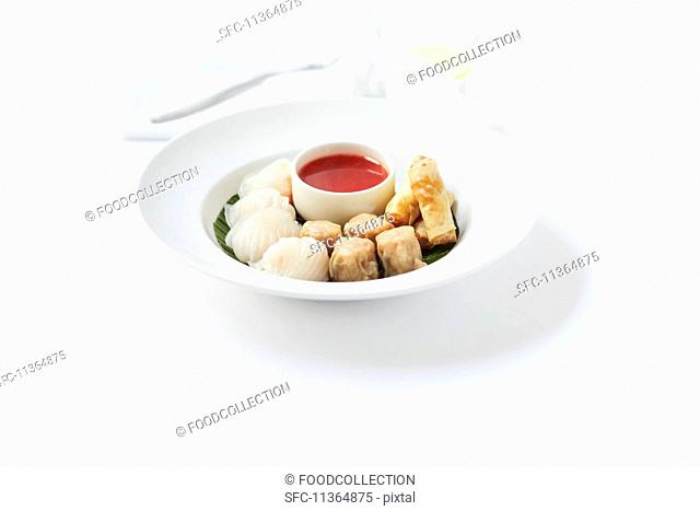 Various types of dim sum on a plate with a dip
