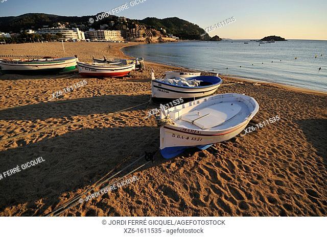 Typical fishing boats on the beach at sunrise, Tossa de Mar, Costa Brava, Catalonia, Spain, Europe