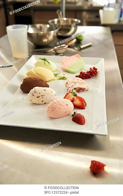 Various mousse samples and fresh berries