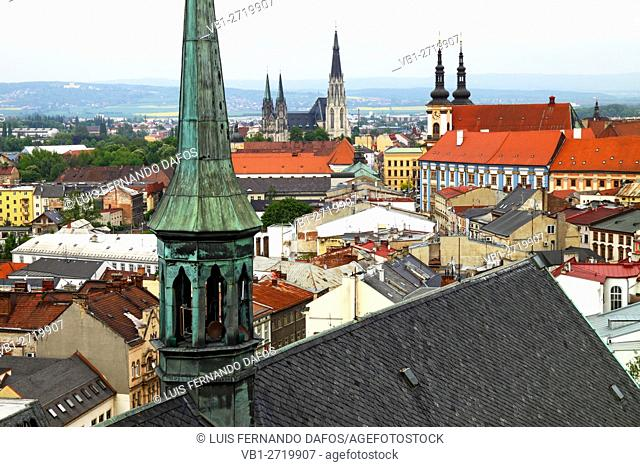 Olomouc overview from the bell tower at the Church of Saint Moritz Czech Republic