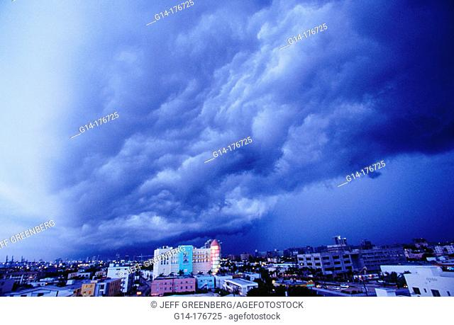 Stormfront clouds, tornado warnings. South Beach, Miami Beach. Florida. USA