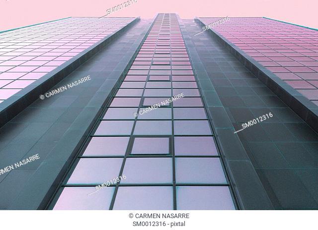 skyscraper with purple sky
