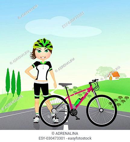 biker girl in nature
