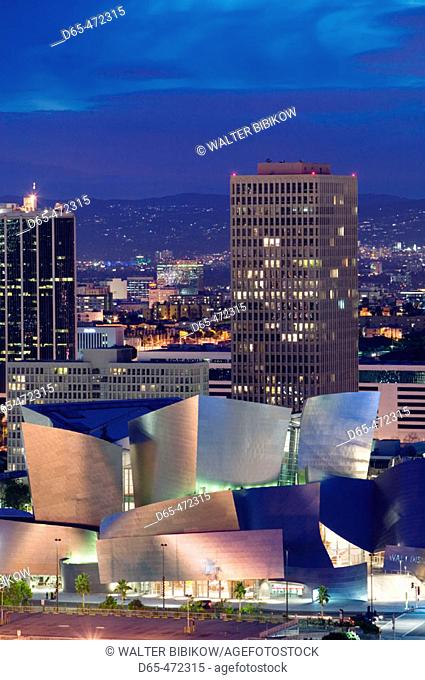 Evening View of  Walt Disney Concert Hall from Los Angeles City Hall. Downtown. Los Angeles. California. USA