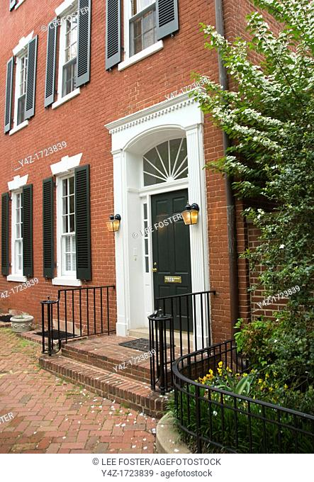 Washington DC, USA: The Georgetown area, known for its shopping and historic brick homes. John and Jacqueline Kennedy house, Marbury House, 3307 N Street NW
