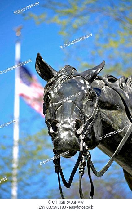 The bronze statue of a horse in the Patriot's Farewell monument in Morristown, NJ