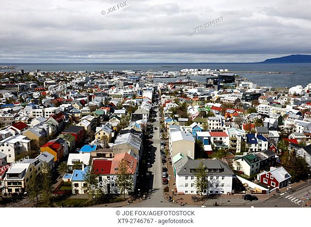 aerial view over the old town and city of reykjavik Iceland