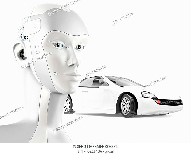 Self-driving car with artificial intelligence, conceptual il