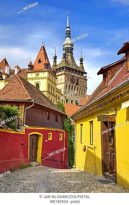 Clock Tower in old town Sighisoara, Transylvania, Romania