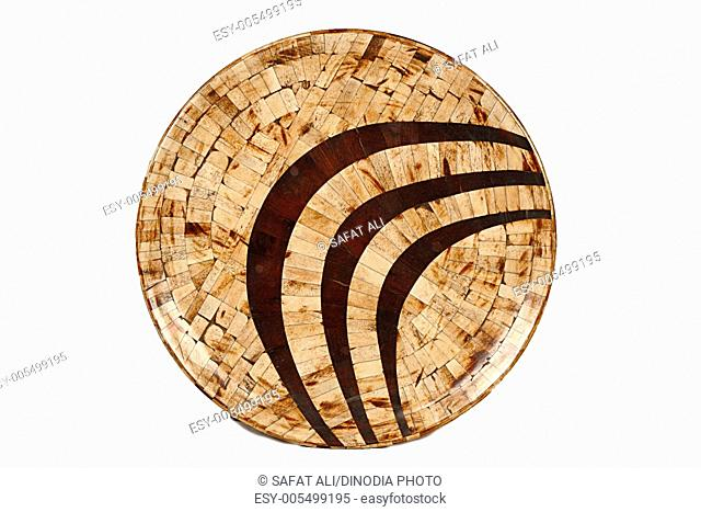 Antique round wooden plate ; Jodhpur ; Rajasthan ; India