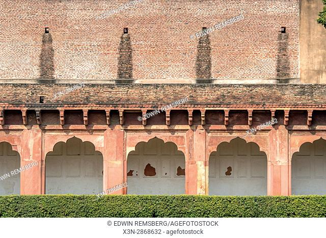 Columns line the open halls of the Agra Fort, located in Agra, India