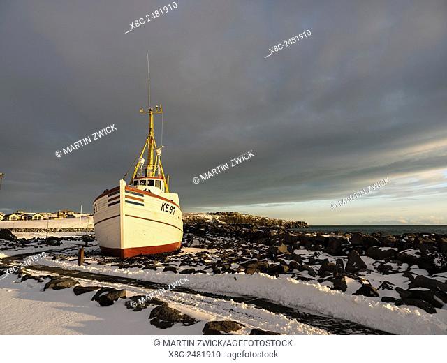 Keflavik on the Reykjanes peninsula during winter. Museum ship in Keflavik harbour. europe, northern europe, iceland, February