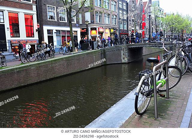 A canal in the Red Light District. Amsterdam, Netherlands