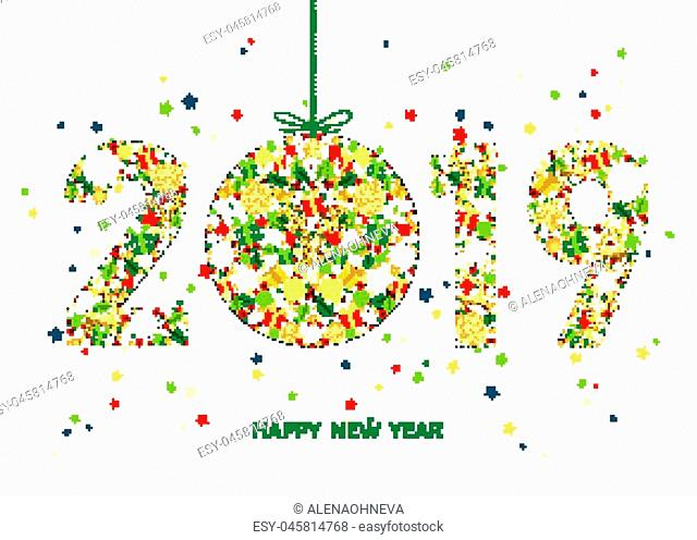 2019 Happy New Year greeting card on white background with Christmas ball with gold reindeer, gift boxes and snowflakes. Colorful ornament