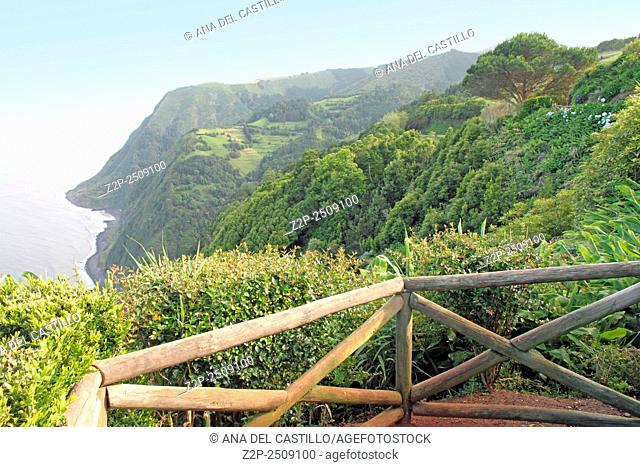 Northeast of the island of Sao Miguel in the Azores. Viewpoint of Ponta do Sossego. Amazingly point of interest in a major holiday destination of Portugal