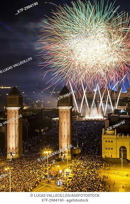 Fireworks at Plaza de España during La Merce Festiva, Barcelona. Catalonia. Spain