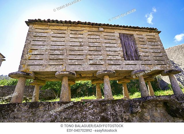Horreo in Sardineiro near Finisterre of Galicia Spain