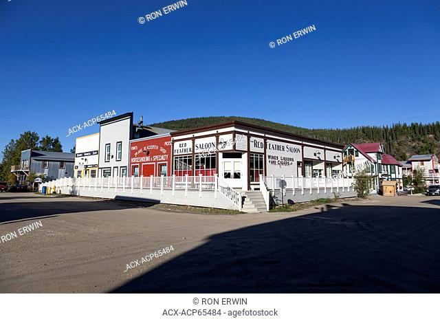Restored historical buildings at the corner of 3rd Ave and Princess St, Dawson City, Yukon, Canada