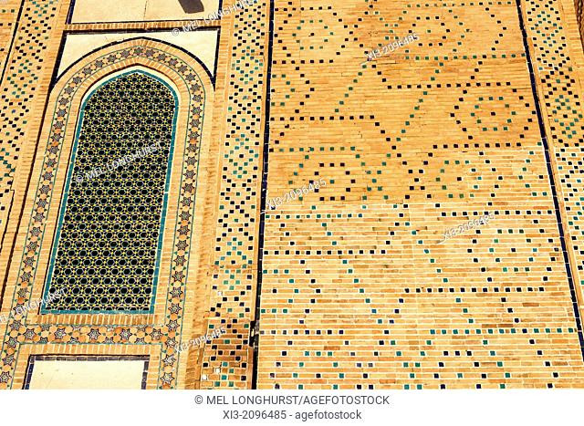 Window and wall of Ulugh Beg Madrasah, also known as Ulugbek Madrasah, Registan Square, Samarkand, Uzbekistan